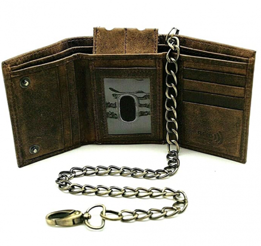 Crazy Horse Leather Chain Wallet for Men