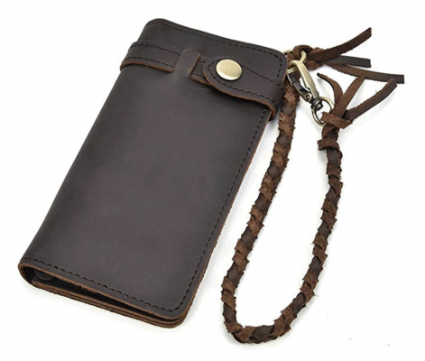 LUUFAN Genuine Leather Wallet with Leather Chain