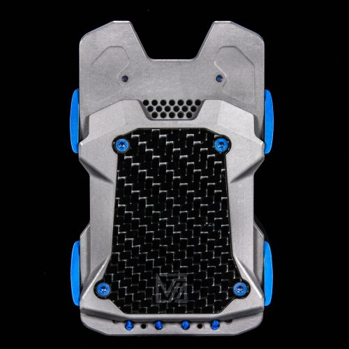F22 Titanium Wallet Raw with Blue